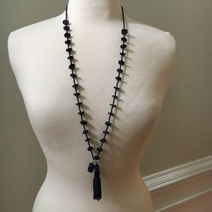 Chico's Blue Discs Long Necklace with Tassel